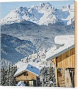 Winter Landscape On The Italian Dolomites Wood Print