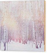 Winter Magic Birch Grove Wood Print