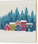 Winter Mountain Houses. Winter Landscape Wood Print