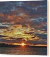 Winter Sunset Over Grand Island Wood Print
