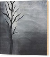 Winter Tree At Night.  Wood Print