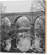 Wissahickon Creek - Reading Viaduct In Black And White Wood Print