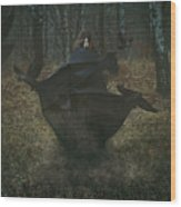 Witch Of The Forest With Her Crows Wood Print