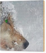 Wolf In The Snowstorm - Painting Wood Print