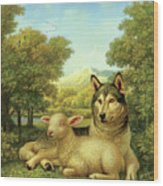 Wolf Lies Down With The Lamb Wood Print