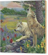 Wolves In The Spring Wood Print