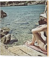 Woman At The Beach With Hat Wood Print