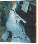 Woman At The Piano Wood Print