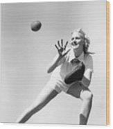Woman Catching A Baseball Wood Print