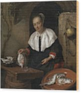 Woman Cleaning Fish Wood Print