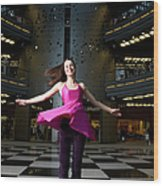 Woman Dancing In Old Brewery Shopping Wood Print