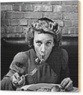 Woman Eating Spaghetti In Restaurant 5 Wood Print