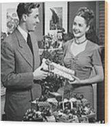 Woman Giving Gift To Man, B&w Wood Print