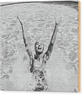 Woman Having Fun In Swimming Pool Wood Print