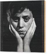 Woman Holding Her Head Wood Print