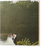 Woman In Infinity Pool At Sunrise. Bali Wood Print