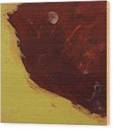 Woman In Moonlight Wood Print