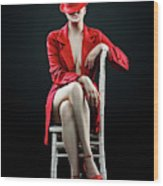 Woman In Red Wood Print