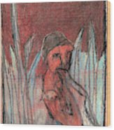 Woman In Reeds Wood Print