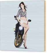 Woman Leaning On A Motorbike Wood Print