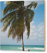 Woman Observing Caribbean Sea On Sandy Wood Print
