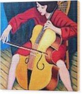 Woman Playing Cello - Bereny Robert Study Wood Print