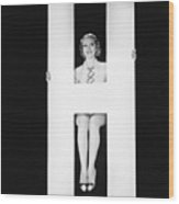 Woman Posing With Huge Letter H Wood Print