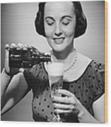 Woman Pouring Alcoholic Beverage Wood Print