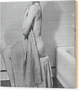 Woman Sitting In Bathroom, Covering Wood Print