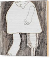 Woman With A Wooden Leg Drawing Wood Print