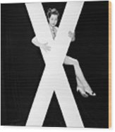 Woman With Huge Letter X Wood Print