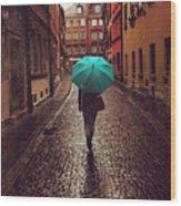 Woman With Umbrella Walking On The Rain Wood Print
