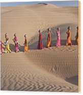 Women Fetching Water From The Sparse Wood Print