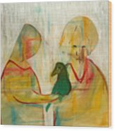 Women Holding A Bird Wood Print
