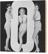 Women Posing With Huge Letter O Wood Print