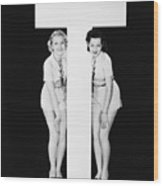 Women Posing With Huge Letter T Wood Print