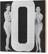 Women With Huge Letter O Wood Print