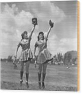 Womens Baseball League Twin Players Wood Print
