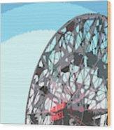 Wonder Wheel On Blue Wood Print