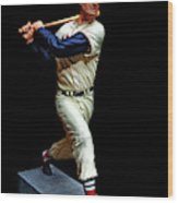 Wood Carving - Ted Williams 001 Black Background Wood Print