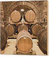 Wooden Barrels In Wine Cellar Wood Print