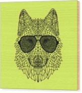 Woolf In Black Glasses Wood Print