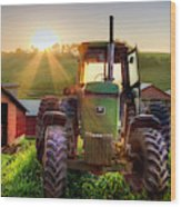 Working John Deere In The Morning Sunshine Wood Print