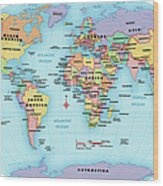 World Map, Continent And Country Labels Wood Print