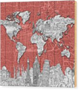 World Map Landmarks Skyline 3 Wood Print