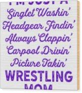 Wrestling Singlet Washin Mom Purple Gift Dark Wood Print