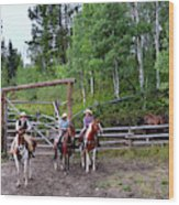 Wyoming Cowgirl Trio Wood Print