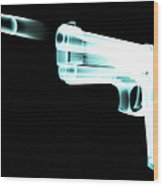 X-ray Of Gun Firing Bullet Digital Wood Print