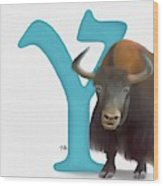 Y Is For Yak Wood Print