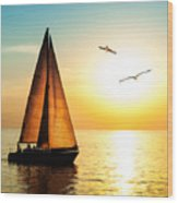 Yacht Sailing Against Sunset. Holiday Wood Print